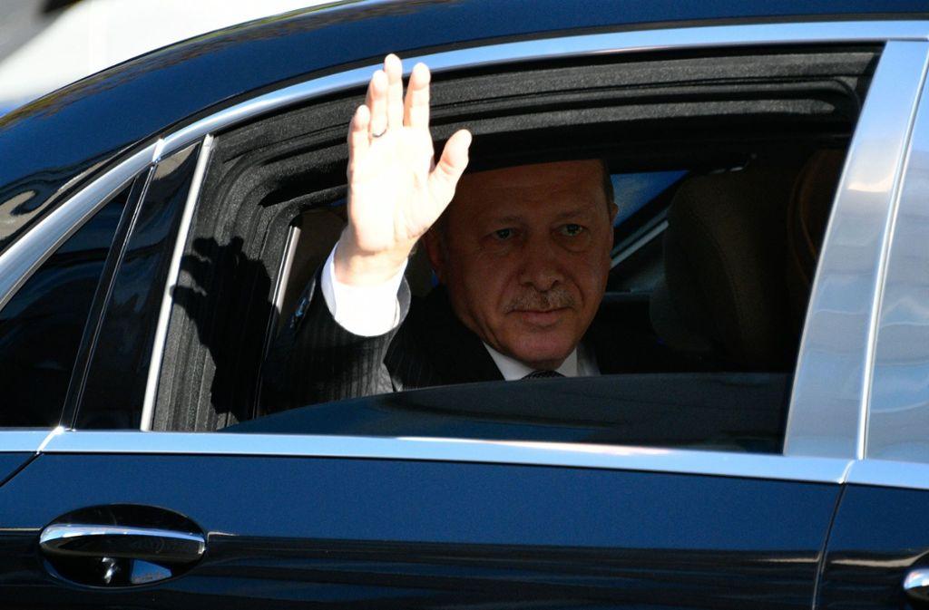 Der türkische Präsident Erdogan bei seinem Besuch in Köln Foto: AP