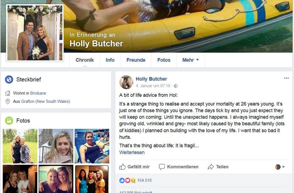 Das letzte Posting von Holly Butcher hat tausende Menschen berührt. Foto: facebook/hollybutcher/screenshot