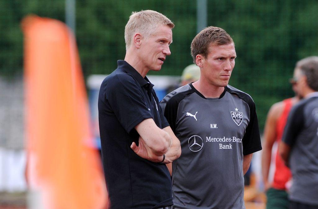 Jan Schindelmeiser (links) und Hannes Wolf basteln an der Zukunft des VfB. Foto: Eibner