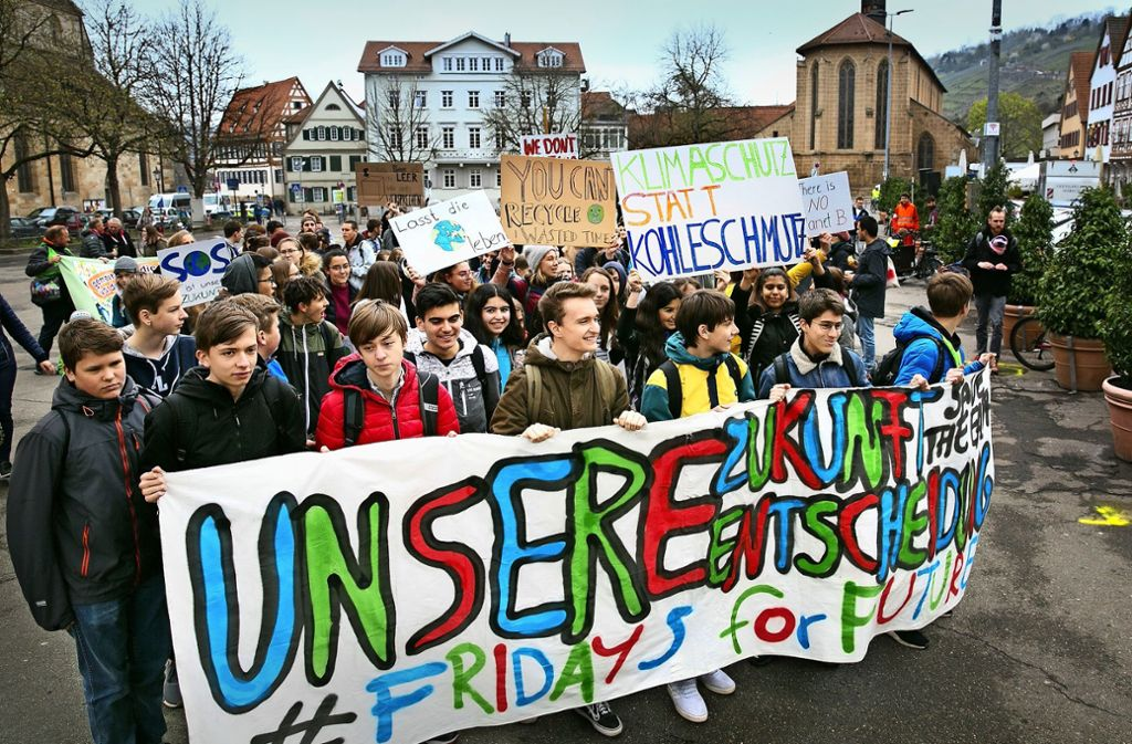 Schüler zeigen auf dem Esslinger Marktplatz Flagge. Foto: Ines Rudel