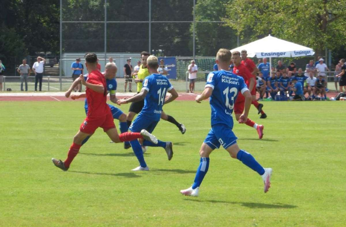 Die Stuttgarter Kickers gewinnen mit 2:1 gegen Ingolstadt II. Foto: Stuttgarter Kickers