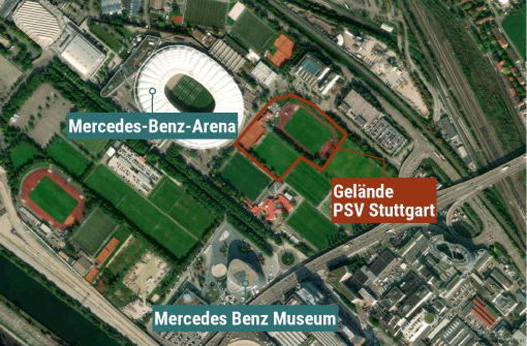 Der PSV Stuttgart ist im Neckarpark direkter Nachbar des VfB Stuttgart und des Stadions. Foto: Maps4News/HERE