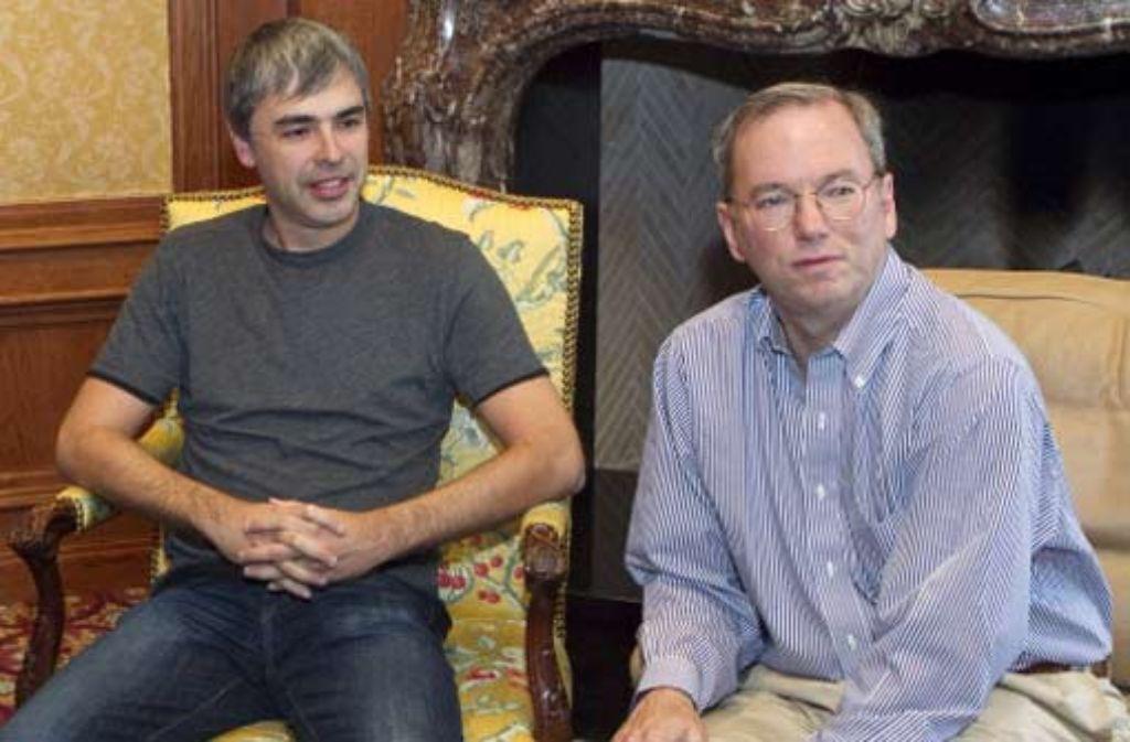 Machtwechsel bei Google: Google-Chef Eric Schmidt (rechts) wird an der Spitze des Unternehmens von Gründer Larry Page abgelöst. Foto: ddp