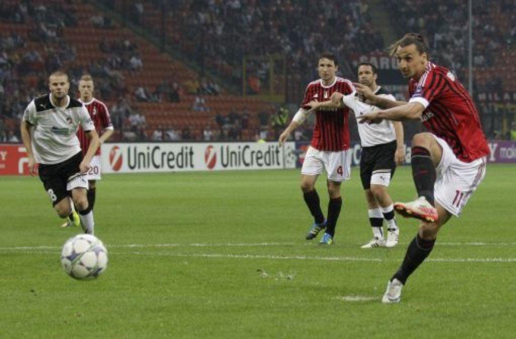 Mit bislang fünf Treffern in den Qualifikationsspielen zur Fußball-Europameisterschaft 2012 in Polen und der Ukraine hat es der Schwede Zlatan Ibrahimovic (AC Mailand) ebenso in die aktuelle Torjäger-Top-Ten geschafft wie ... Foto: AP