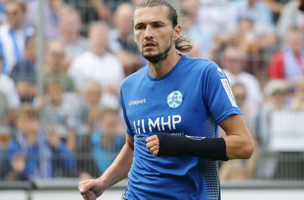 Mijo Tunjic erzielt das 2:0 für die Blauen. Foto: Pressefoto Baumann
