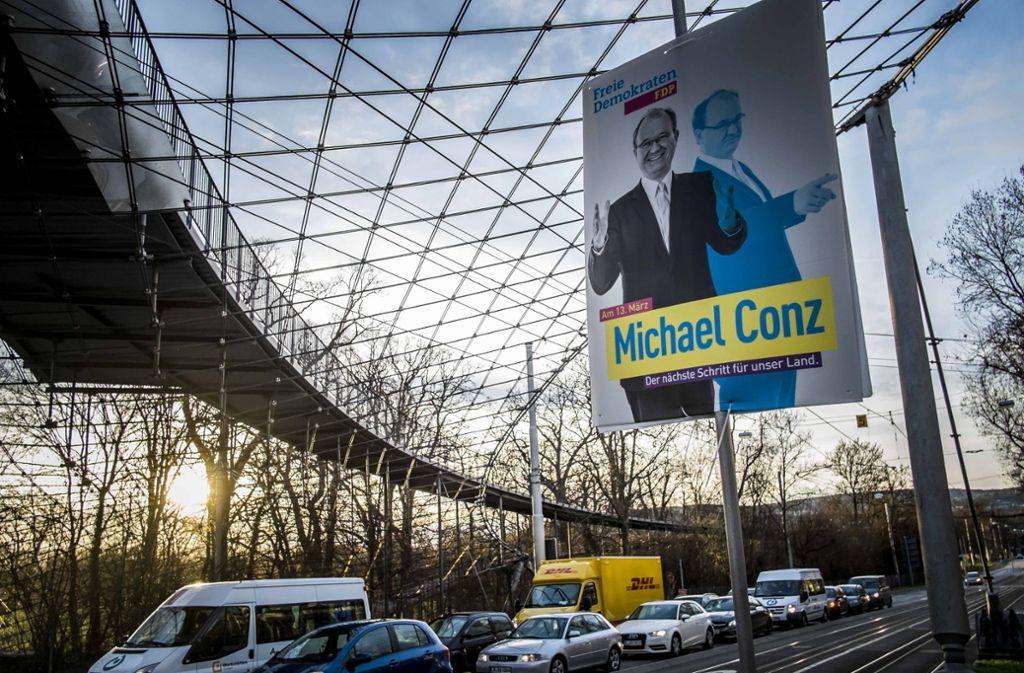 Ein Plakat aus der Landtagswahl – auch bei der Kommunalwahl will Conz wieder antreten. Foto: Lg/ Kovalenko