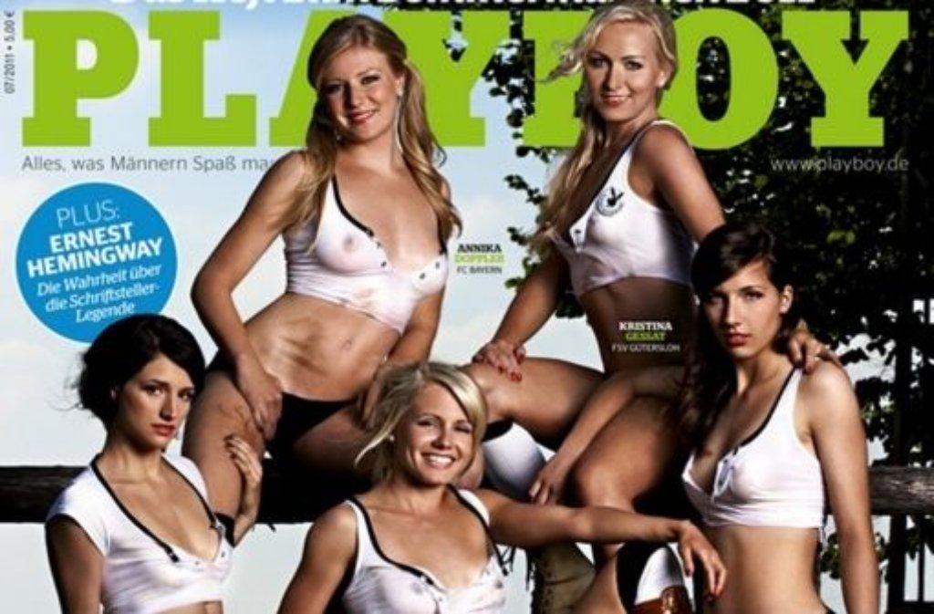 Auf dem Playboy-Cover der Juli-Ausgabe des Männermagazins zeigen sich fünf Nationalspielerinnen in sexy Posen. Foto: Playboy