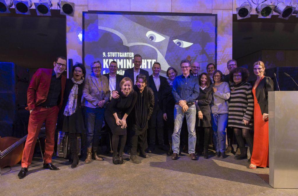 Die Preisträger und Laudatoren bei der Verleihung der Krimipreise im Wilhelmspalais. Foto: Florian Model