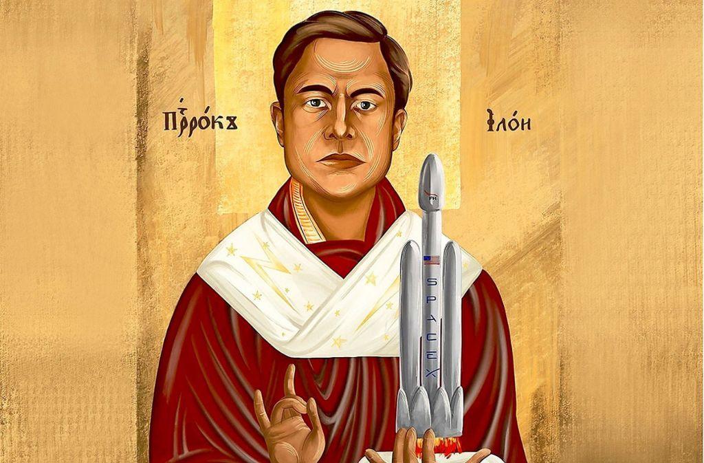 Der Fortschrittsprediger und Raumschiff-Entrepreneur Elon Musk, wie ihn die  Künstlerin Svetik Petushkova sieht. Foto: Svetik Petushkova
