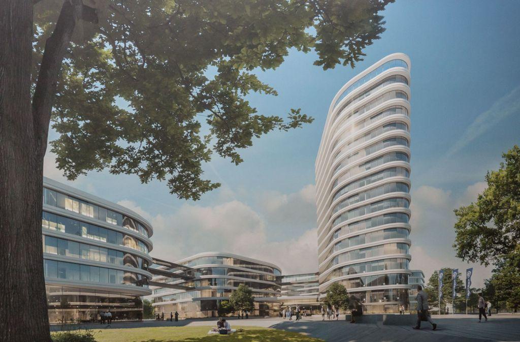Die Allianz wird in Vaihingen ein großes Büroquartier bauen. Das Bild zeigt den Siegerentwurf aus dem Jahr 2017 mit dem geplanten Hochhaus. Foto: Lichtgut/Julian Rettig