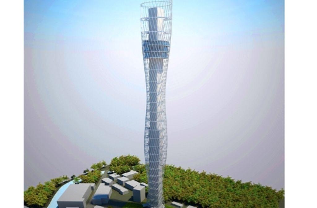So soll der Turm aussehen: 235 Meter hoch, samt Aussichtsplattform und Gastronomie. Rottweil hofft auf Touristen. Foto: ThyssenKrupp Elevator AG