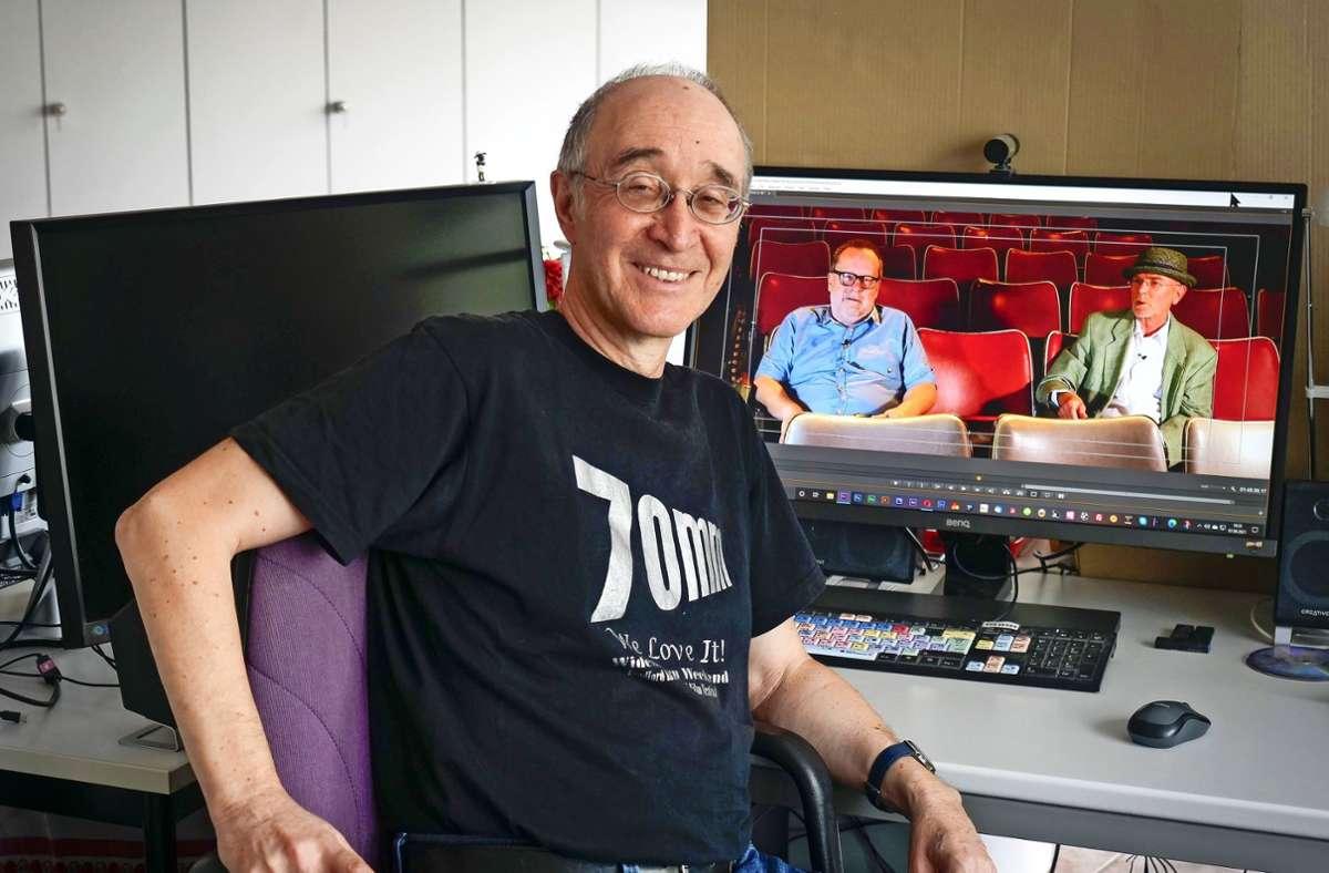 Wolfram Hannemann (vorne) hat im Film die  Kinobetreiber  Klaus Friedrich (links) und Gerhard Göbelt  porträtiert. Foto: /Simon Granville