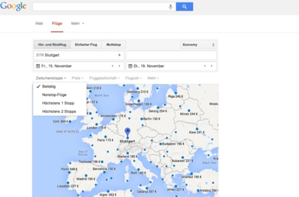 Google Flights hilft Reisenden dabei, schnell und günstig den gewünschten Flug zu finden. An Suchmöglichkeiten mangelt es dem neuen Angebot des US-Konzerns dabei nicht. Foto: Google/StZ-Screenshot