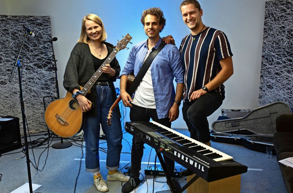Julia Kalb, Felix Fischer und Raphael Berthold (v.l) sind Musiker mit Herzblut. Foto: Ines Rudel