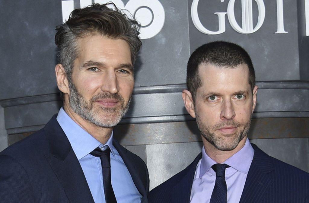 """David Benioff (li.) und D. B. Weiss waren für die Serie """"Game of Thrones"""" verantwortlich. Nun wechseln sie in eine ferne Galaxis. Foto: AP"""
