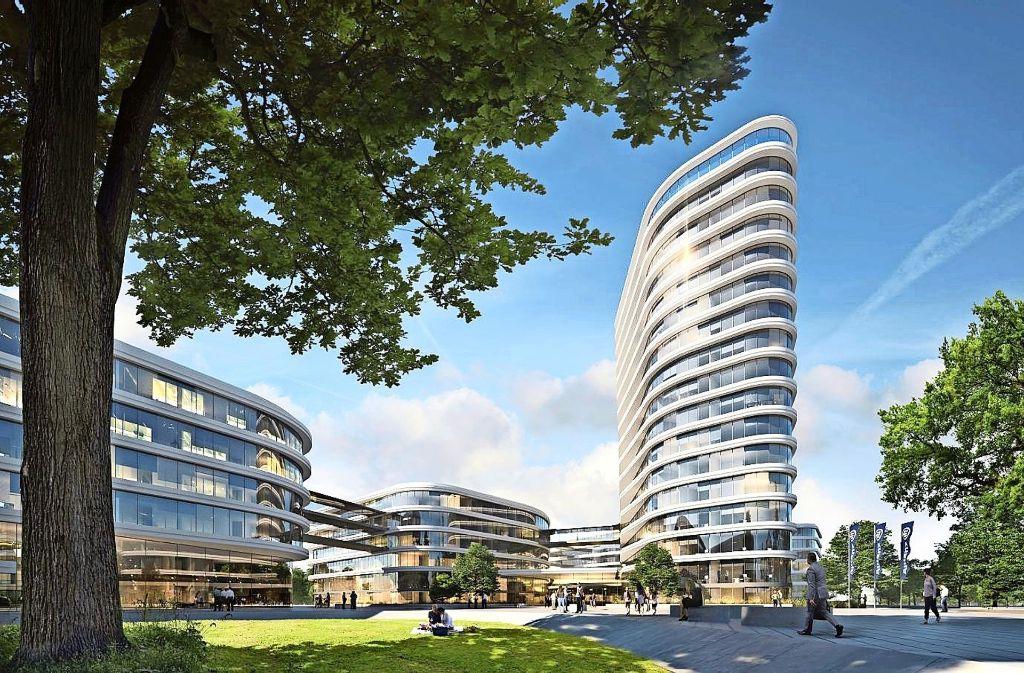 Der Siegerentwurf des Dortmunder Planungsbüros Gerber Architekten sieht einen Hauptkomplex aus drei Gebäuden vor. Foto: Allianz