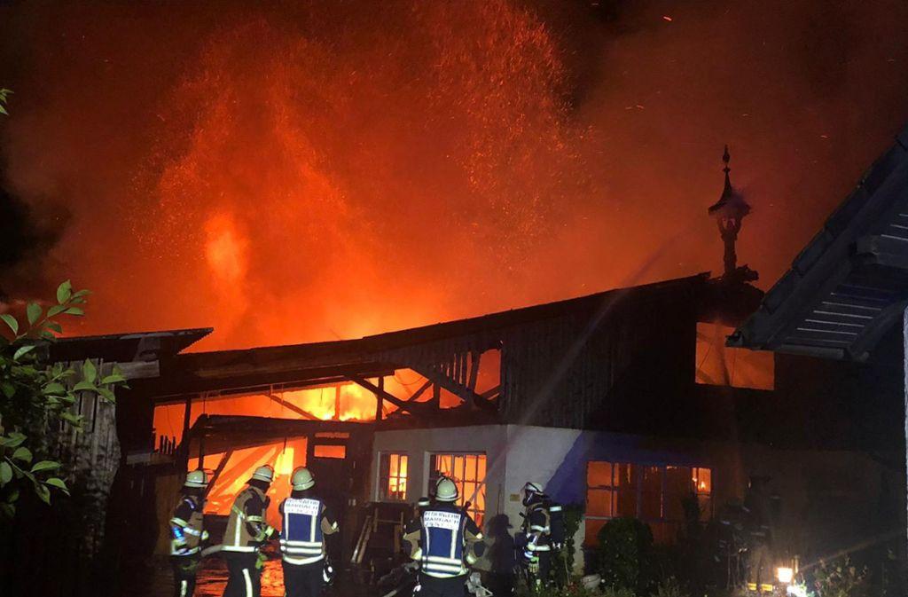 Die Werkstatt in Marbach brannte komplett ab. Foto: SDMG