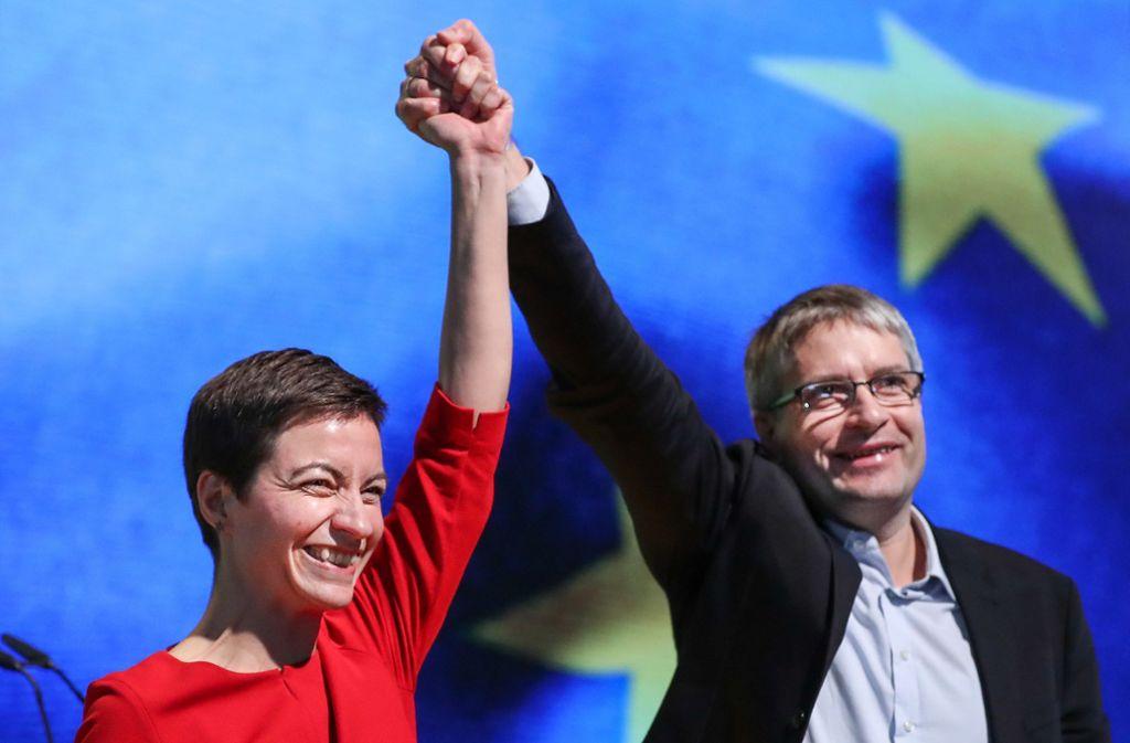 Die deutschen Spitzenkandidaten der Grünen für das EU-Parlament: Ska Keller und Sven Giegold. Foto: dpa