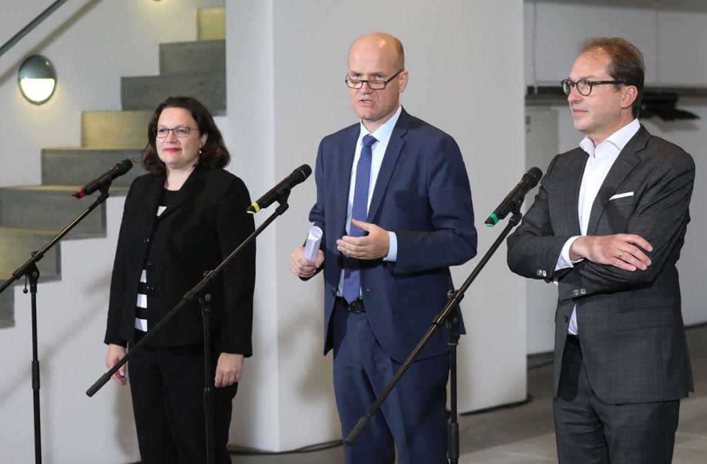 Andrea Nahles, Ralph Brinkhaus und Alexander Dobrindt im Bundeskanzleramt. Foto: dpa