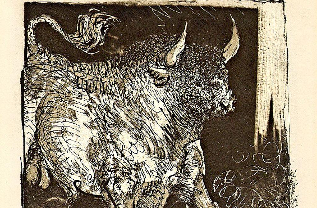 """Pablo Picasso, """"Le toro espagnol"""", aus: Georges Louis Leclerc, comte de Buffon, """"Histoire naturelle"""", 1942 (Aquatinta/Radierung, 41,5 x 31,5 cm). Foto: Succession Picasso/VG Bild-Kunst, Bonn 2017"""