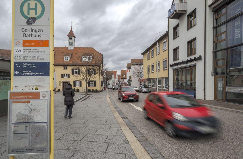 An der Hauptstraße beim Rathausplatz in Gerlingen gilt Tempo 30. Foto: factum/Weise