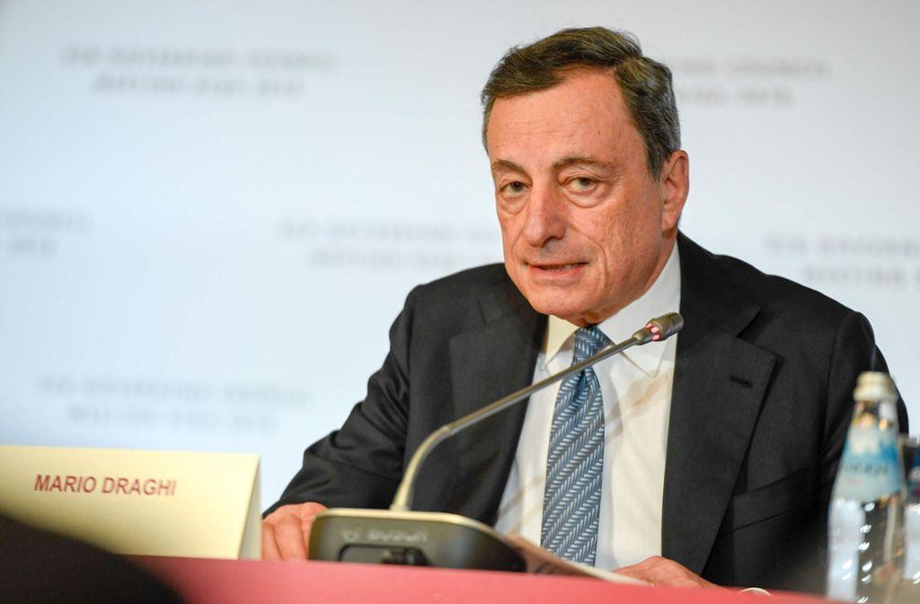 EZB-Präsident Draghi empfiehlt Sparern Anlagen am Kapitalmarkt Foto: AFP