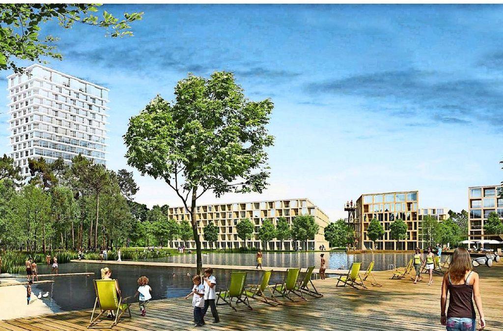 Geplant ist unter anderem ein Hochhaus neben einem künstlichen See. Zusammen mit einer Grünfläche soll dies den Mittelpunkt des Quartiers bilden. Foto: Steidle Architekten