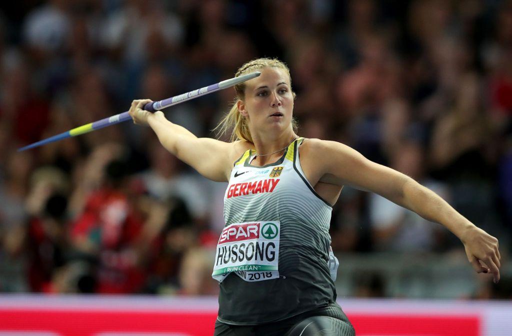 Mit ihren Wurf über 67,90 Meter stellte Christin Hussong einen EM-Rekord auf. Foto: Getty Images Europe