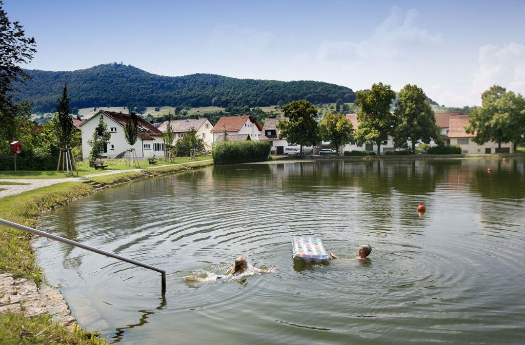Der Bissinger See: Die Wasserqualität des kleinen Sees, soll laut dem Landesamt für Umwelt Baden-Württemberg ausgezeichnet sein. Foto: Horst Rudel