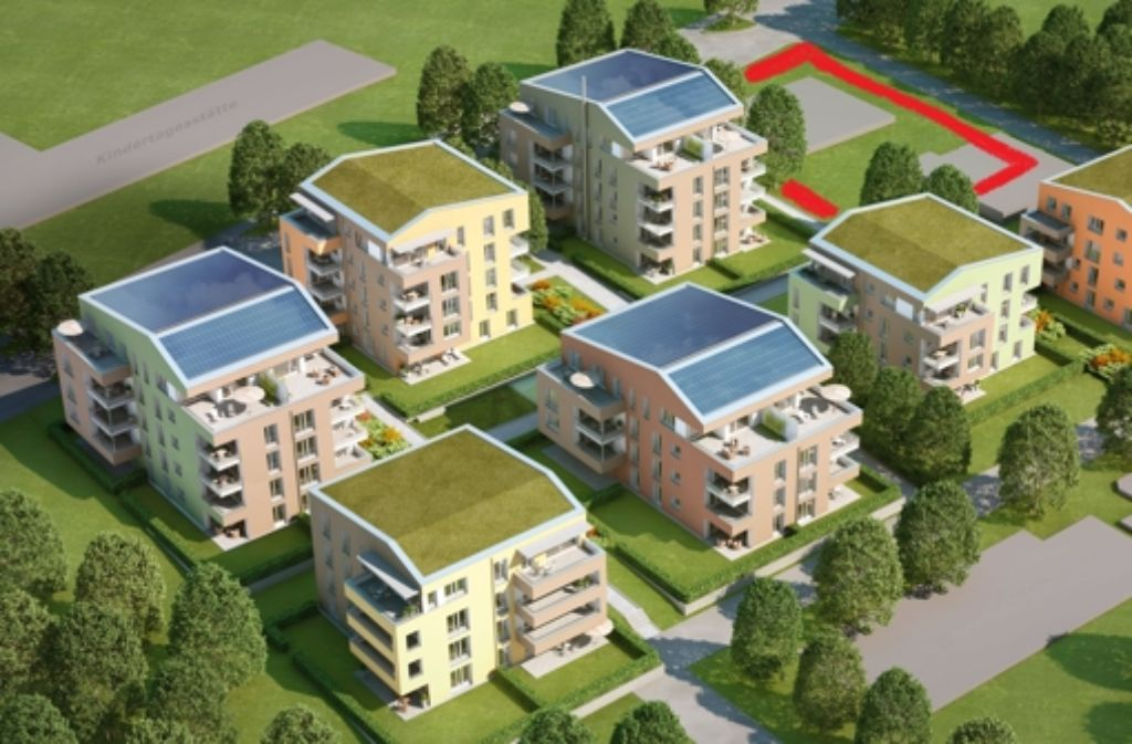 Das rotmarkierte Grundstück ist das der Baugemeinschaft. Der graue Balken oben links ist die neue Kindertagesstätte an der Bernsteinstraße. Foto: Siedlungswerk/red