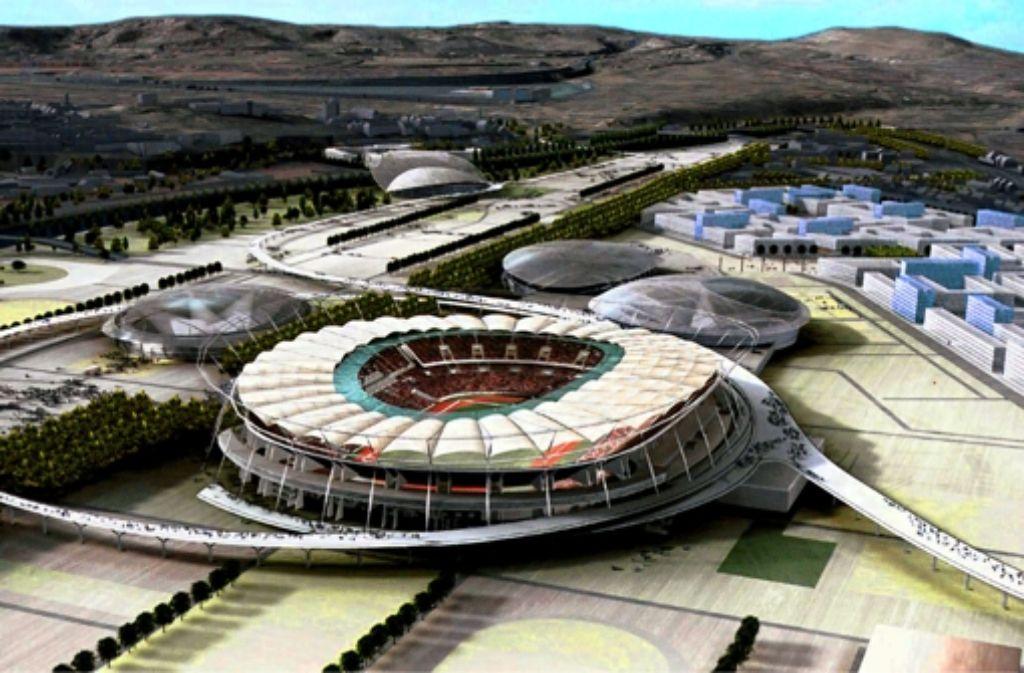 So stellten sich Stuttgarts Olympiaplaner das Sportgelände in Bad Cannstatt vor: im Vordergrund das Stadion, dahinter drei Hallen, das Athletendorf und die Schwimmhalle. Foto: Nationale Bewerbung der Stadt Stuttgart
