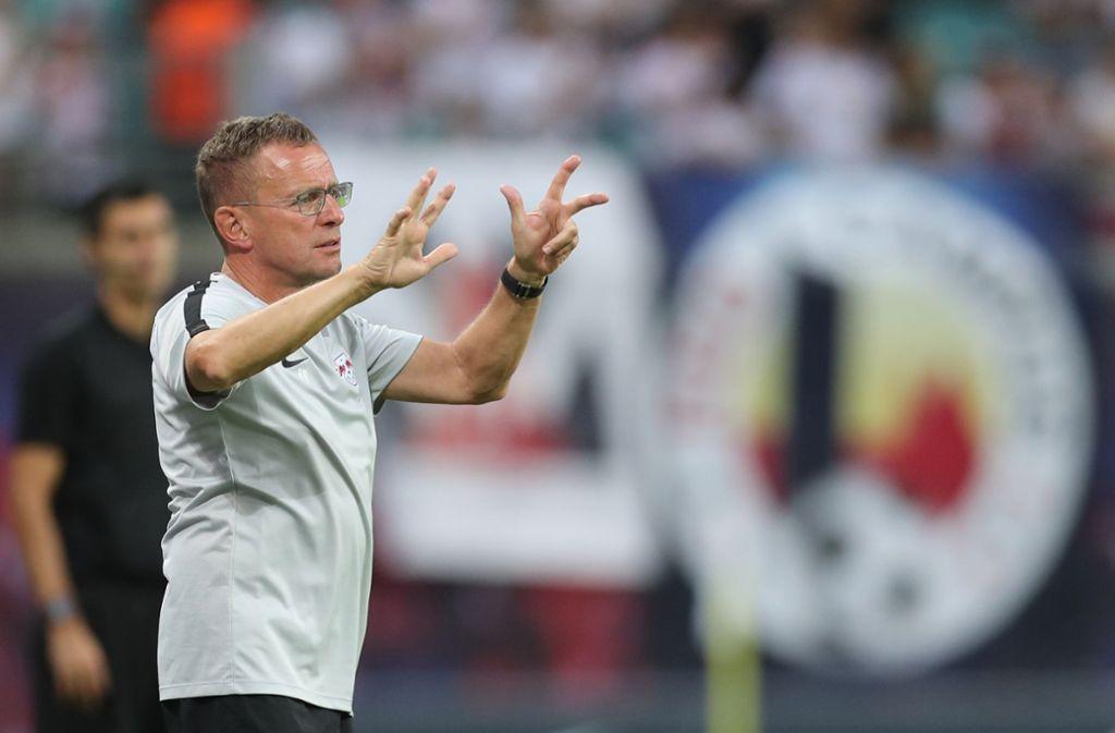 Gibt in Leipzig den Takt vor: Ex-VfB-Trainer Ralf Rangnick Foto: dpa