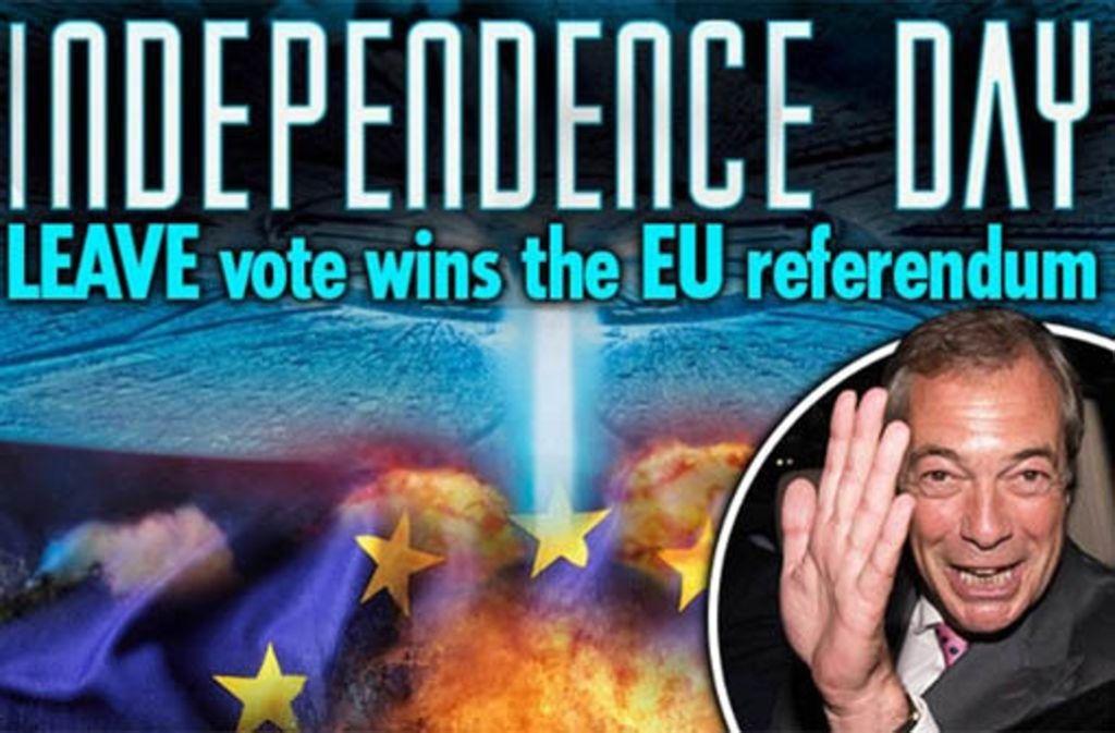 """Die Pressestimmen in Großbritannien zum Brexit fallen unterschiedliche aus. Der """"Daily Star"""" beispielsweise lässt die EU gleich von einem Raumschiff aus dem Film """"Independence Day"""" vernichten. Weitere Stimmen gibt es hier. Foto: Screenshot"""