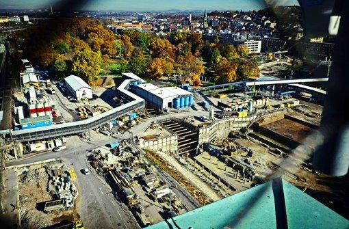 Anfang 2016 könnte in der Baugrube im Schlossgarten mit dem Betonieren der Bodenplatte begonnen werden. Foto: Lichtgut/Achim Zweygarth