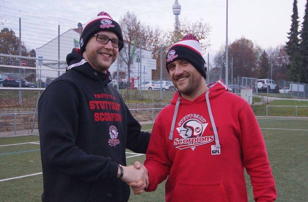 David Selje und der neue Scorpions-Cheftrainer Fabian Birkholz (v.l.). Foto: Stuttgart Scorpions