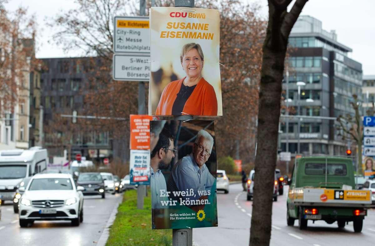 Zur Landtagswahl am 14. März werben Susanne Eisenmann und Winfried Kretschmann um die Stimmen der Baden-Württemberger. Foto: Lichtgut/Leif Piechowski