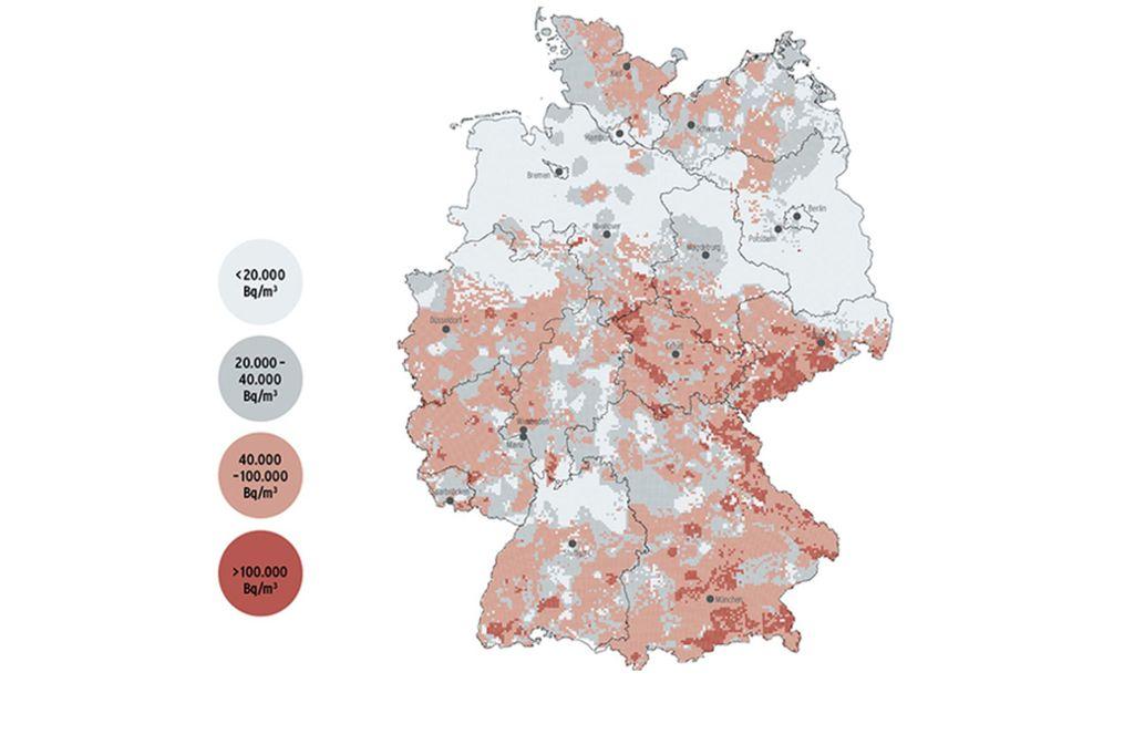 """Die Karte """"Radon-Konzentration im Boden"""" des Bundesamtes für Strahlenschutz zeigt, wie viel Radon im Boden in Deutschland vorkommt. Foto: BfS/"""