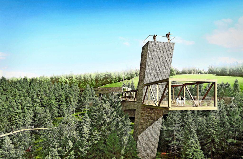 Ende 2020 soll das  Besucherzentrum am Ruhestein im Nationalpark Schwarzwald eröffnet werden – und den Tourismus in der Region zusätzlich ankurbeln. Die Animation zeigt den Endausbau. Foto: bloomimages