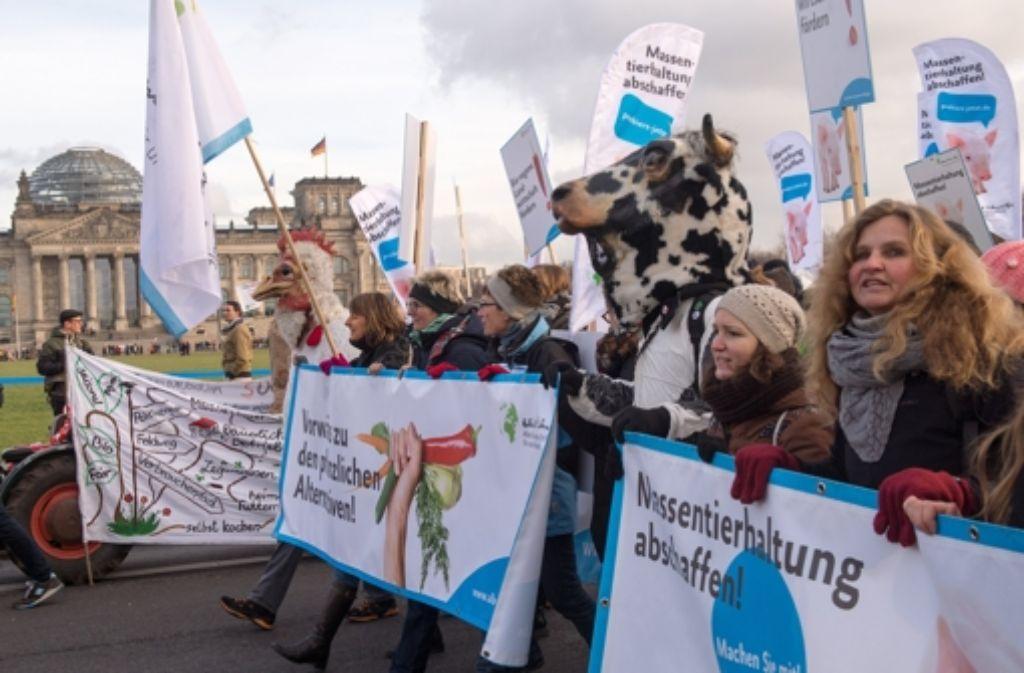 Demonstranten protestieren am Samstag vor dem Reichstag in Berlin unter dem Motto Wir haben es satt gegen Massentierhaltung, Gentechnik und das umstrittene Freihandelsabkommen TTIP. Quelle: Unbekannt