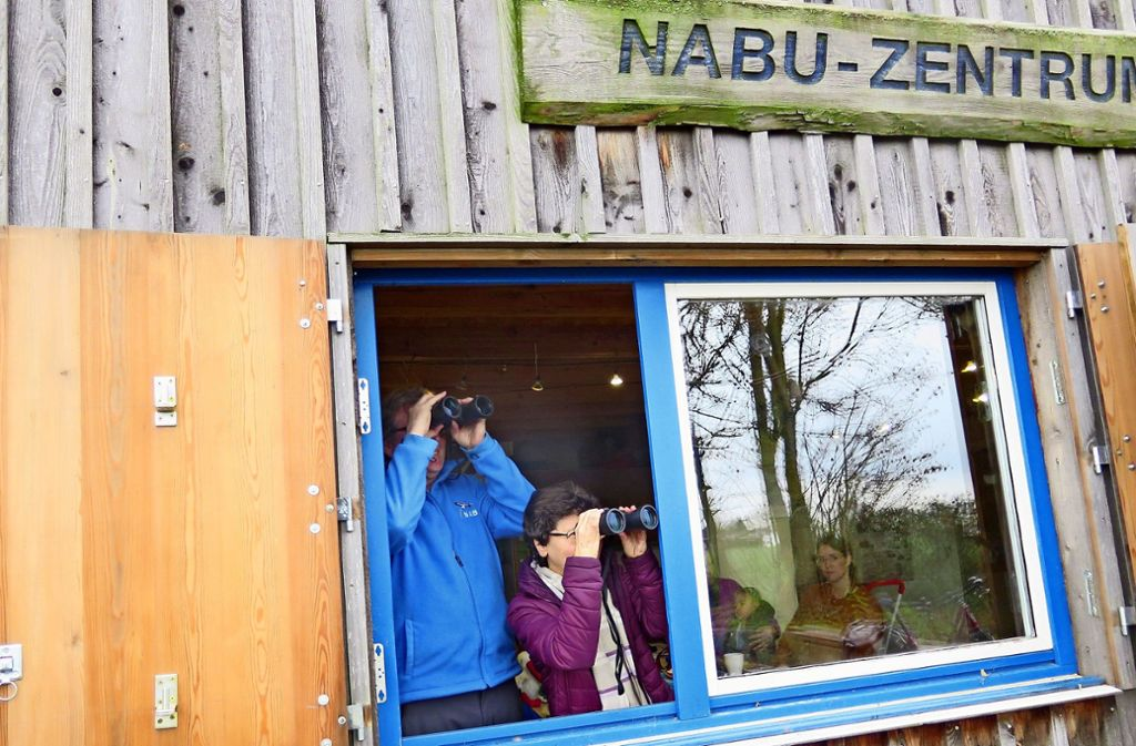 Ja wo fliegen sie denn? Beobachtungsduo an der Hönle-Ranch in Schmiden. Foto: Brigitte Hess