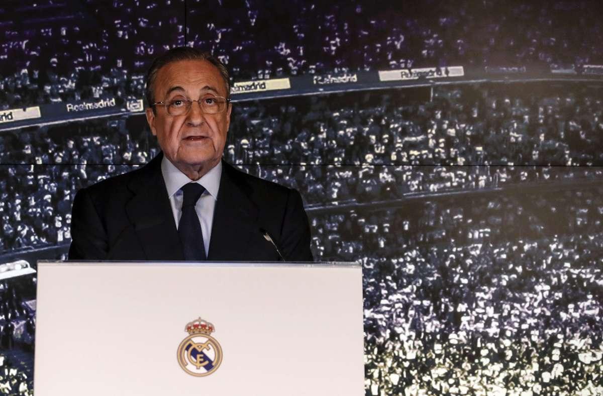 Real-Präsident Florentino Perez hat sich zur Super League geäußert. Foto: dpa/Enrique de la Fuente