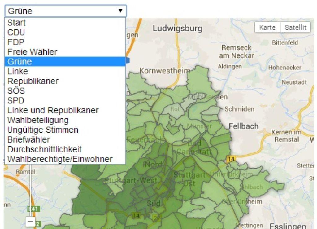 Der Wahlatlas Stuttgart zeigt unter anderem, welche Stimmanteile die Parteien bei der Kommunmalwahl 2009 in Ihrem Stadtteil geholt haben. Während die Grüne vor allem in der Innenstadt ihre Hochburgen haben, ... Foto: Screenshot