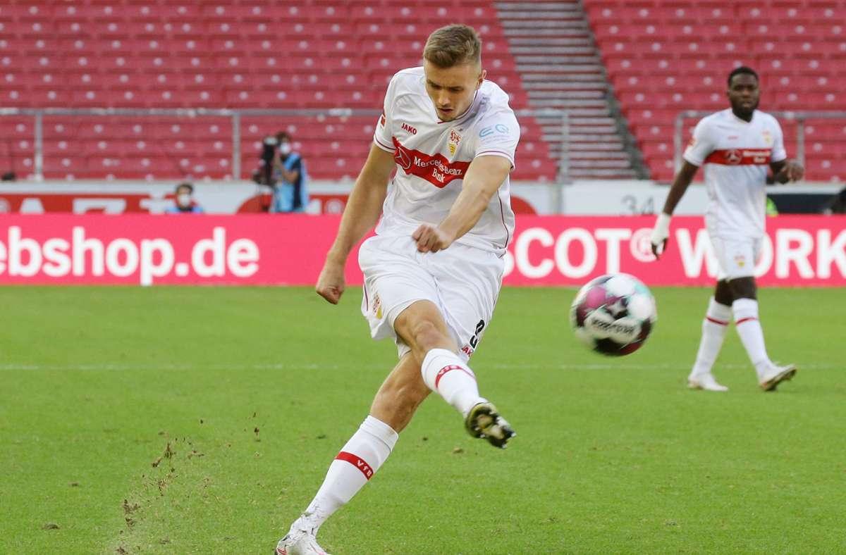 Der 23-jährige Sasa Kalajdzic wurde gegen den SC Freiburg eingewechselt und sorgte kurze Zeit später mit seinem Anschlusstreffer  für Aufwind beim VfB. Foto: Pressefoto Baumann