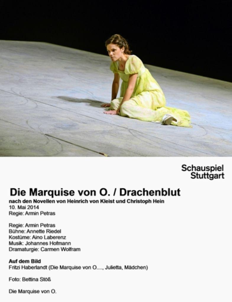 Göre, Mädchen, Frau und Männeropfer:   Fritzi Haberlandt als   Marquise von O. in der Kleist-Novelle Foto: Bettina Stöß
