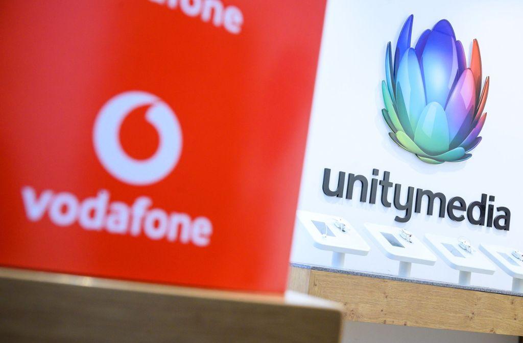 Das Unitymedia-Logo ist Geschichte: Seit diesem Montag wird das Kabelnetz im Südwesten nur noch unter dem Vodafone-Banner vertrieben. Foto: dpa/Sebastian Gollnow