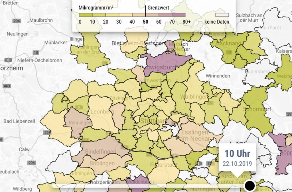 Das Feinstaubradar zeigt stets die aktuellen Feinstaubwerte in der Region Stuttgart. Foto: Screenshot /StZN