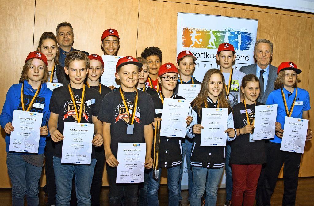 Das U-12-Baseball-Team des TV Cannstatt  ist Deutscher Meister geworden und würde dafür nun von der Sportkreisjugend geehrt. Foto: Lichtgut - Oliver Willikonsky
