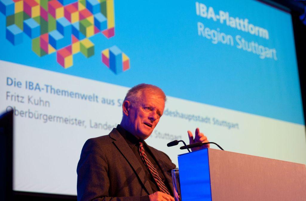OB Fritz Kuhn, hier bei einer Veranstaltung im Vorfeld,  freut sich über die Wahl des IBA-Intendanten Foto: Lichtgut/Oliver Willikonsky