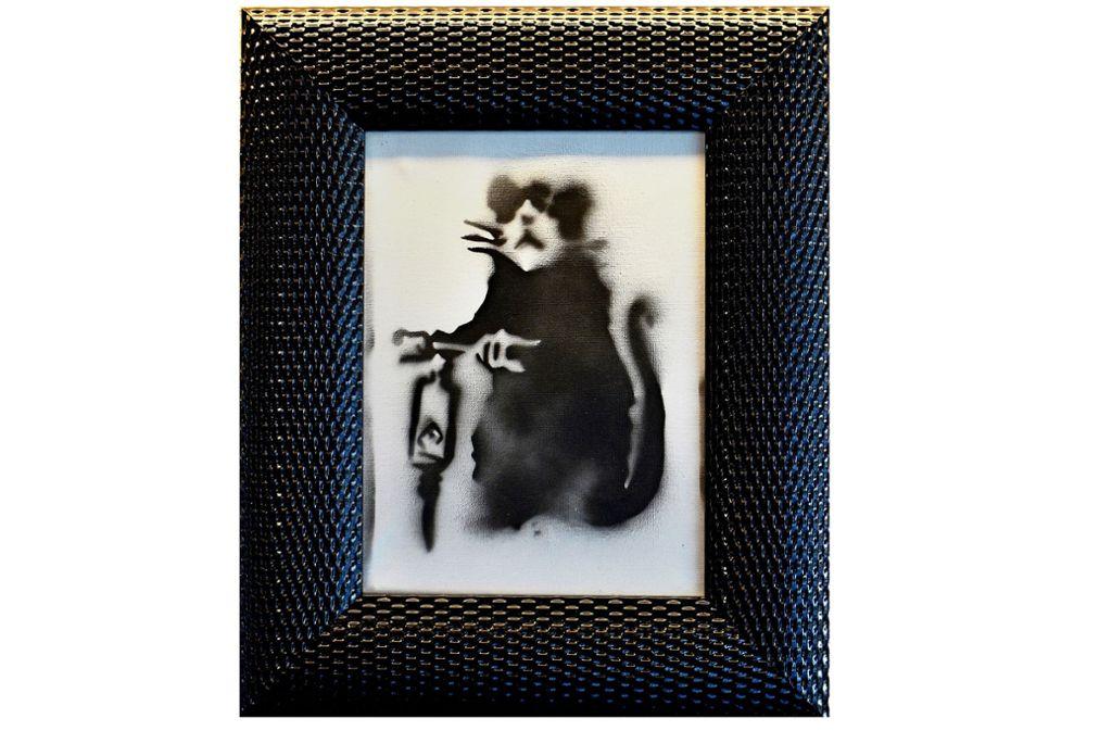"""Banksys """"Ratte mit Presslufthammer"""" wird für 8000 Euro angeboten. Foto: Banksy"""