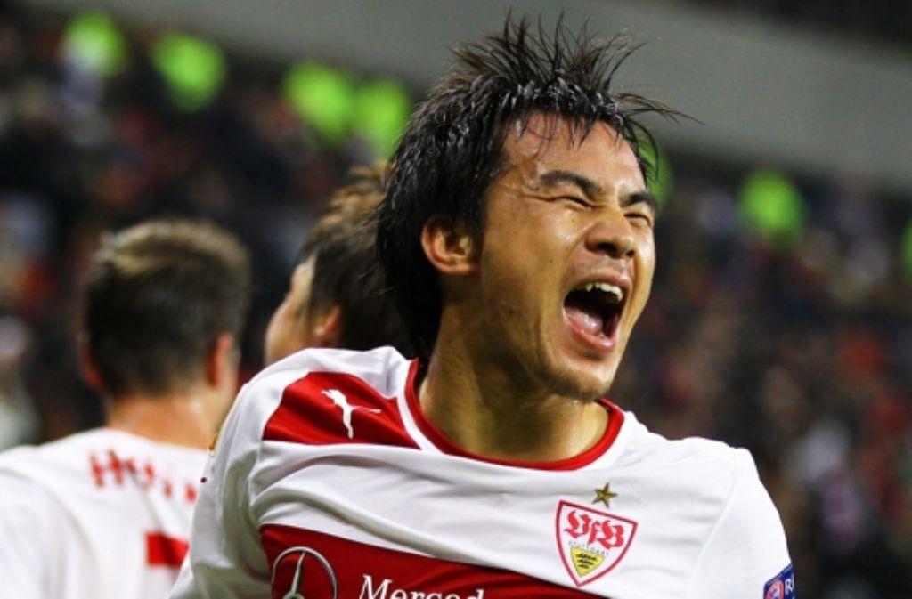Zeit für Grimassen: Shinji Okazaki kommt aus dem Feiern gar nicht mehr raus. Foto: dpa